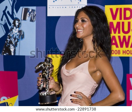 Hollywood, CA - SEPTEMBER 07: Nicole Scherzinger of The Pussycat Dolls posing in the press room at the 2008 MTV Video Music Awards at Paramount Studios on September 7, 2008 in Hollywood, California.
