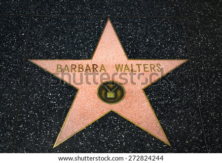 HOLLYWOOD, CA/USA - APRIL 18, 2015: Barbara Walters star on the Hollywood Walk of Fame. The Hollywood Walk of Fame is made up of brass stars embedded in the sidewalks on Hollywood Blvd. - stock photo