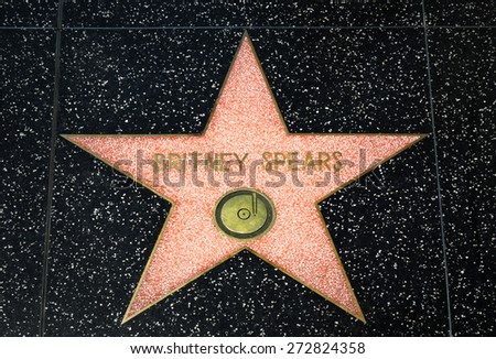 HOLLYWOOD, CA/USA - APRIL 18, 2015: Britney Spears star on the Hollywood Walk of Fame. The Hollywood Walk of Fame is made up of brass stars embedded in the sidewalks on Hollywood Blvd. - stock photo