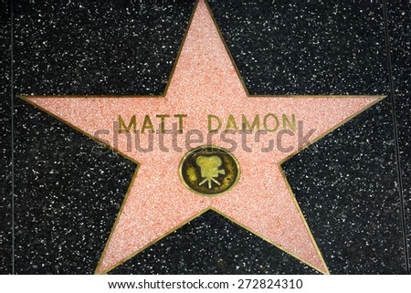 HOLLYWOOD, CA/USA - APRIL 18, 2015: Matt Damon star on the Hollywood Walk of Fame. The Hollywood Walk of Fame is made up of brass stars embedded in the sidewalks on Hollywood Blvd. - stock photo