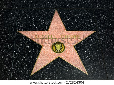 HOLLYWOOD, CA/USA - APRIL 18, 2015: Russell Crowe star on the Hollywood Walk of Fame. The Hollywood Walk of Fame is made up of brass stars embedded in the sidewalks on Hollywood Blvd. - stock photo