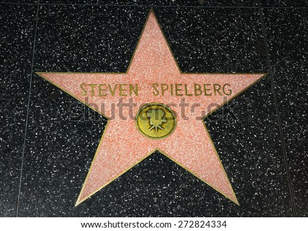 HOLLYWOOD, CA/USA - APRIL 18, 2015: Steven Spielberg star on the Hollywood Walk of Fame. The Hollywood Walk of Fame is made up of brass stars embedded in the sidewalks on Hollywood Blvd. - stock photo