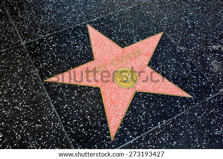 HOLLYWOOD CA USA APRIL 13 2015: Walk of fame star Gary Cooper (born Frank James Cooper was an American film actor known for his natural, authentic, and understated acting style and screen performances