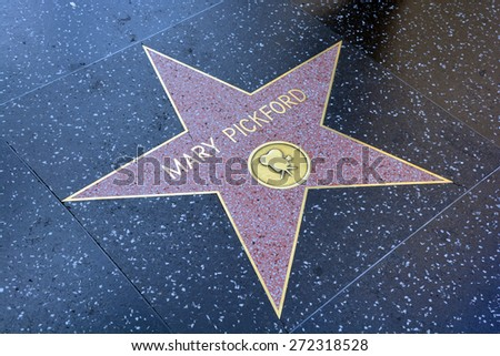 HOLLYWOOD CA USA APRIL 13 2015: Walk of fame star of Mary Pickford (April 8, 1892  May 29, 1979) was a Canadian-American motion picture actress, co-founder of the film studio United Artists. - stock photo