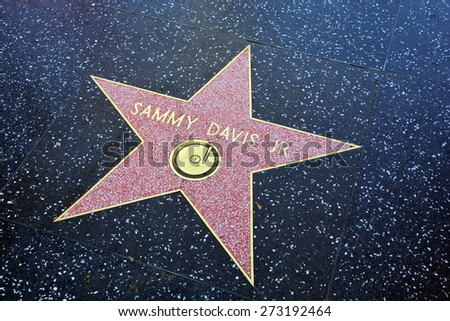 "HOLLYWOOD CA USA APRIL 13 2015: Walk of fame star Samuel George ""Sammy"" Davis Jr. was an American entertainer. dancer,singer an actor of stage and screen, musician, and impressionist. - stock photo"