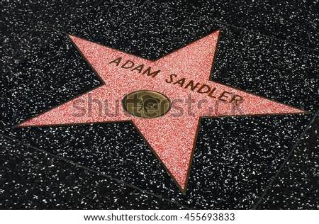 HOLLYWOOD, CA/USA - JULY 9, 2016:  Adam Sandler star on the Hollywood walk of fame.