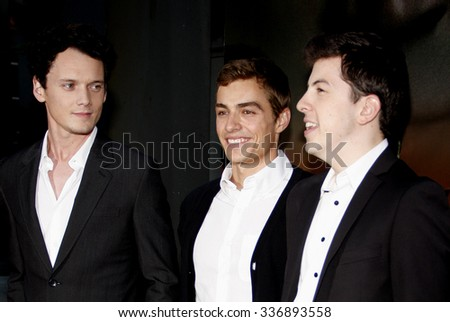"HOLLYWOOD, CALIFORNIA - August 17, 2011. Anton Yelchin, Dave Franco and Christopher Mintz-Plasse at the Los Angeles screening of ""Fright Night"" held at the ArcLight Cinemas, Los Angeles."
