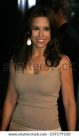 """HOLLYWOOD, CALIFORNIA. August 23, 2005. Lacey Chabert at the World Premiere of """"Dirty Deeds"""" at the Directors Guild of America in Hollywood, California , United States. - stock photo"""