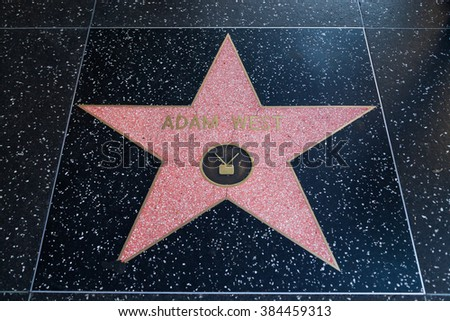 HOLLYWOOD, CALIFORNIA - February 8 2015: Adam West's Hollywood Walk of Fame star on February 8, 2015 in Hollywood, CA.