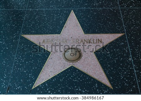HOLLYWOOD, CALIFORNIA - February 8 2015: Aretha Franklin's Hollywood Walk of Fame star on February 8, 2015 in Hollywood, CA.