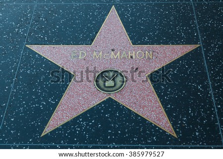 HOLLYWOOD, CALIFORNIA - February 8 2015: Ed McMahon's Hollywood Walk of Fame star on February 8, 2015 in Hollywood, CA.