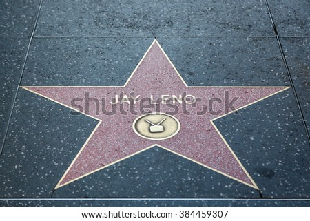 HOLLYWOOD, CALIFORNIA - February 8 2015: Jay Leno's Hollywood Walk of Fame star on February 8, 2015 in Hollywood, CA.