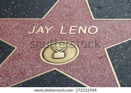 Hollywood, California - February 08 : Jay Leno star in the Hollywood walk of fame, February 08 2015 in Hollywood, California. - stock photo