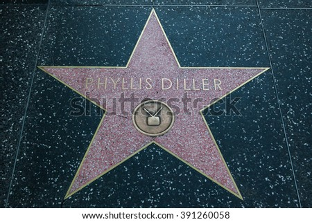 HOLLYWOOD, CALIFORNIA - February 8 2015: Phyllis Diller's Hollywood Walk of Fame star on February 8, 2015 in Hollywood, CA.