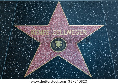 HOLLYWOOD, CALIFORNIA - February 8 2015: Renee Zellweger's Hollywood Walk of Fame star on February 8, 2015 in Hollywood, CA.
