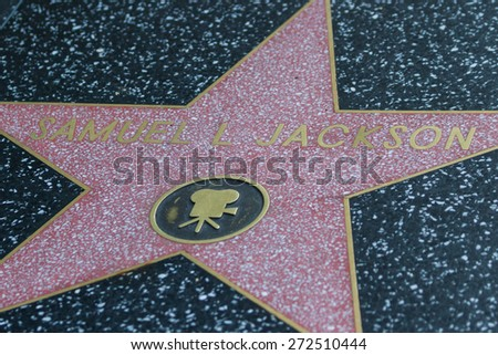 Hollywood, California - February 08 : Samuel L Jackson's star in the Hollywood walk of fame, February 08 2015 in Hollywood, California. - stock photo