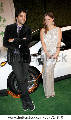 HOLLYWOOD, CALIFORNIA - February 22, 2012. Sophia Bush and Adrian Grenier at the Global Green USA's 9th Annual Pre-Oscar Party held at the Avalon Hollywood, Los Angeles. - stock photo