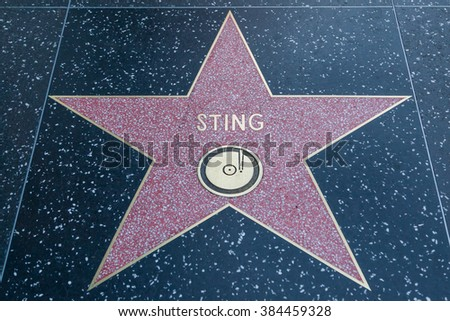 HOLLYWOOD, CALIFORNIA - February 8 2015: Sting's Hollywood Walk of Fame star on February 8, 2015 in Hollywood, CA.