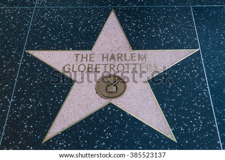 HOLLYWOOD, CALIFORNIA - February 8 2015: The Harlem Globetrotters' Hollywood Walk of Fame star on February 8, 2015 in Hollywood, CA.