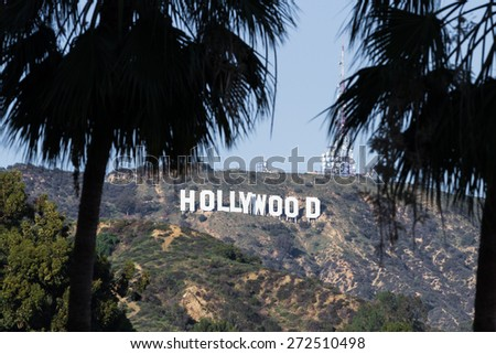 Hollywood, California - February 08 :View of the Hollywood sign from the Hollywood and Highland Center, February 08 2015 in  Hollywood, California. - stock photo