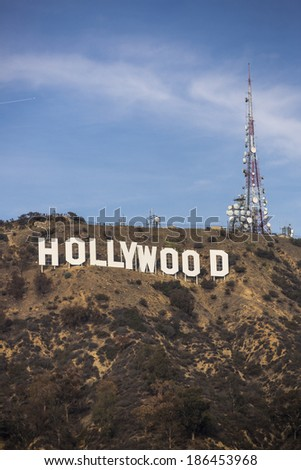 HOLLYWOOD, CALIFORNIA - January 4, 2014 - Hollywood sign on Santa Monica mountains in Los Angeles January 4, 2014. Originally created as advertisement for real estate development. - stock photo