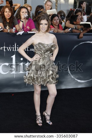 "HOLLYWOOD, CALIFORNIA - June 24, 2010. Anna Kendrick at ""The Twilight Saga: Eclipse"" Los Angeles premiere held at the Nokia Live Theater, Los Angeles."