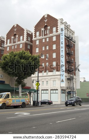 HOLLYWOOD, CALIFORNIA - MAY 22, 2015: Exterior of the Scientology building in Hollywood. Science fiction writer L. Ron Hubbard characterized Scientology as a religion, greatly opposed lately.  - stock photo