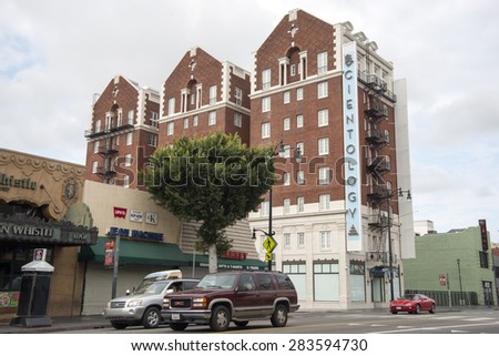 HOLLYWOOD, CALIFORNIA - MAY 22, 2015: Exterior of the Scientology building in Hollywood. Science fiction writer L. Ron Hubbard characterized Scientology as a religion, greatly opposed lately.