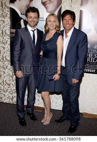 "HOLLYWOOD, CALIFORNIA - May 18, 2010. Michael Sheen, Hope Davis and Dennis Quaid at the Los Angeles premiere of ""The Special Relationship"" held at the Director's Guild of America, Hollywood."