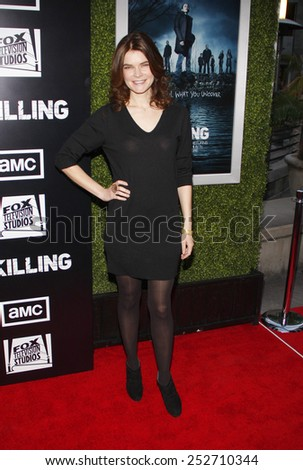 HOLLYWOOD, CALIFORNIA - Monday March 26, 2012. Betsy Brandt at the Los Angeles Season 2 premiere of AMC's 'The Killing' held at the ArcLight Cinemas, Los Angeles. - stock photo