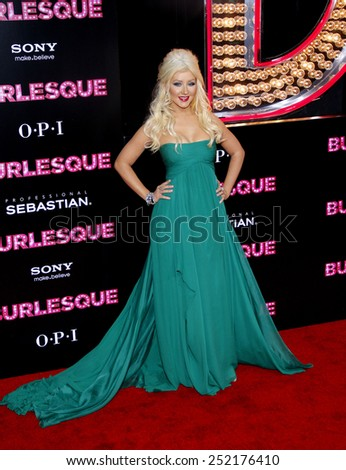 """HOLLYWOOD, CALIFORNIA - Monday November 15, 2010. Christina Aguilera at the Los Angeles premiere of """"Burlesque"""" held at the Grauman's Chinese Theater, Los Angeles. - stock photo"""
