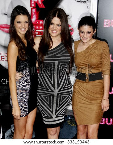 "HOLLYWOOD, CALIFORNIA - November 15, 2010. Kendall Jenner, Khloe Kardashian and Kylie Jenner at the Los Angeles premiere of ""Burlesque"" held at the Grauman's Chinese Theater in Hollywood."