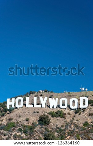 HOLLYWOOD, CALIFORNIA - OCTOBER 8, 2011 - Hollywood sign on Santa Monica mountains in Los Angeles October 8, 2011 in Los Angeles, USA.Originally created as advertisement for real estate development. - stock photo