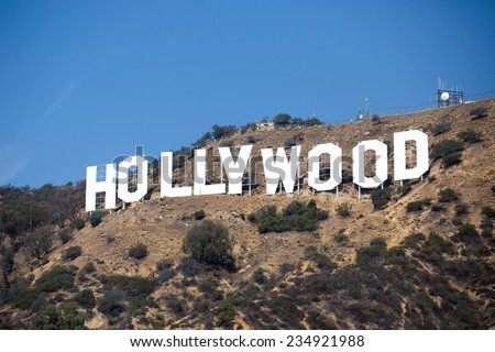 HOLLYWOOD, CALIFORNIA - OCTOBER 14: The world famous landmark Hollywood Sign on October 14, 2014 in Hollywood, California. It was created as an advertisement in 1923. - stock photo