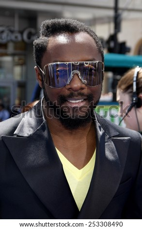 "HOLLYWOOD, CALIFORNIA - Sunday April 10, 2011. Will.i.am at the Los Angeles premiere of ""Rio"" held at the Grauman's Chinese Theater in Los Angeles."