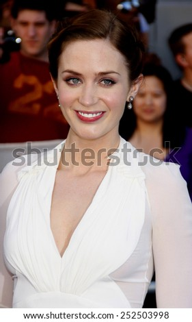 "HOLLYWOOD, CALIFORNIA - Sunday January 23, 2010. Emily Blunt at the Los Angeles premiere of ""Gnomeo & Juliet"" held at the El Capitan Theater, Los Angeles."