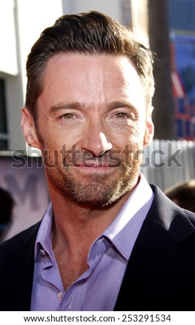 """HOLLYWOOD, CALIFORNIA - Sunday October 2, 2011. Hugh Jackman at the Los Angeles premiere of """"Real Steel"""" held at the Gibson Amphitheatre, Los Angeles.  - stock photo"""