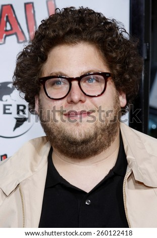 """HOLLYWOOD, CALIFORNIA. Thursday April 10, 2008. Jonah Hill attends the World Premiere of """"Forgetting Sarah Marshall"""" held at the Grauman's Chinese Theater in Hollywood, California United States. - stock photo"""