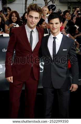 "HOLLYWOOD, CALIFORNIA - Thursday June 24, 2010. Robert Pattison and Taylor Lautner at the ""The Twilight Saga: Eclipse"" Los Angeles premiere held at the Nokia Live Theater, Los Angeles. - stock photo"