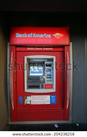 HOLLYWOOD, CALIFORNIA - TUES. JUNE 24, 2014: A Bank of America automated teller machine (ATM) in Hollywood, California, on Sunday, June 29, 2014.  - stock photo