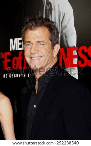"""HOLLYWOOD, CALIFORNIA - Tuesday January 26, 2010. Mel Gibson at the Los Angeles premiere of """"Edge of Darkness"""" held at the Grauman's Chinese Theater, Hollywood.  - stock photo"""
