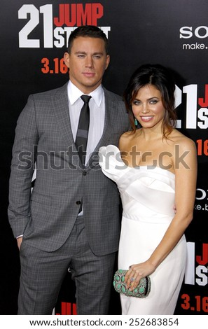 "HOLLYWOOD, CALIFORNIA - Tuesday March 13, 2012. Channing Tatum and Jenna Dewan at the Los Angeles premiere of ""21 Jump Street"" held at the Grauman's Chinese Theater, Los Angeles. - stock photo"