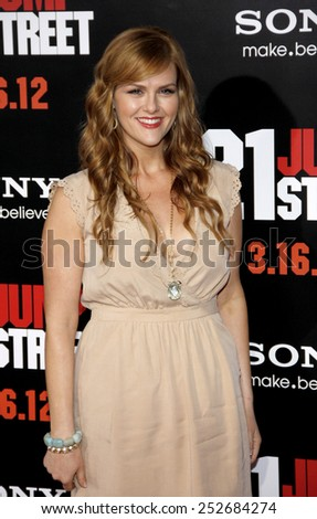 "HOLLYWOOD, CALIFORNIA - Tuesday March 13, 2012. Sara Rue at the Los Angeles premiere of ""21 Jump Street"" held at the Grauman's Chinese Theater, Los Angeles.  - stock photo"