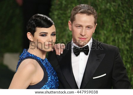 Hollywood, California, USA; February 24, 2013;  Ginnifer Goodwin and Josh Dallas attend the 2013 Vanity Fair Oscar Party at the Sunset Towers in Hollywood, California. - stock photo