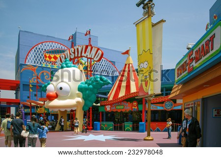 HOLLYWOOD, CALIFORNIA,USA - JUNE 2, 2009: The Simpsons ride at Universal Studios Hollywood, California - stock photo