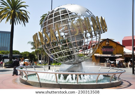 HOLLYWOOD, CALIFORNIA, USA - May 10: The large rotating Universal logo globe on May 10, 2012. Universal Studios is one of Hollywood's famous theme parks. - stock photo