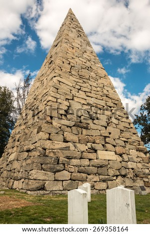 Hollywood Cemetery Richmond Pyramid. A large pyramid memorial to the confederacy in Hollywood Cemetery in Richmond, Virginia. - stock photo