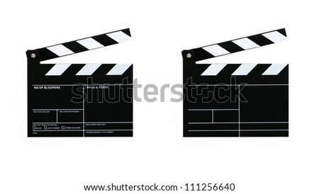 Hollywood clapboard set for film production isolated on white background