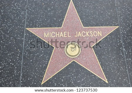 HOLLYWOOD - DECEMBER 7: Michael Jackson's star on Hollywood Walk of Fame on December 7, 2012 in Hollywood, California. This star is located on Hollywood Blvd. and is one of 2400 celebrity stars. - stock photo
