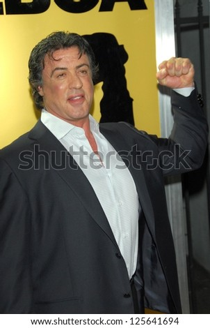 "HOLLYWOOD - DECEMBER 13: Sylvester Stallone at the world premiere of ""Rocky Balboa"" on December 13, 2006 at Grauman's Chinese Theatre, Hollywood, CA. - stock photo"